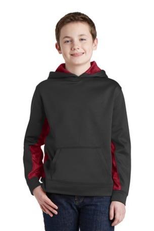 Sport-Tek ®  Youth Sport-Wick ®  CamoHex Fleece Colorblock Hooded Pullover.  YST239