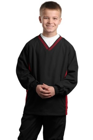 Sport-Tek ®  Youth Tipped V-Neck Raglan Wind Shirt. YST62