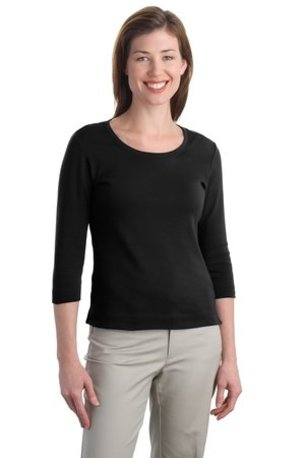 Port Authority ®  Ladies Modern Stretch Cotton 3/4-Sleeve Scoop Neck Shirt. L517