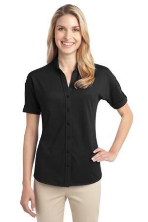 Port Authority ®  Ladies Stretch Pique Button-Front Shirt. L556