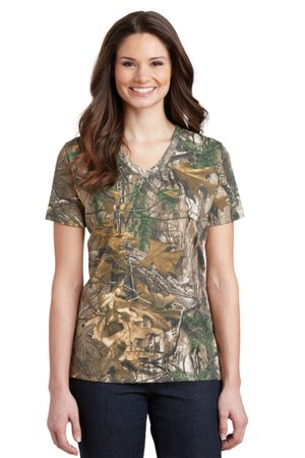 Russell Outdoors -  Realtree ®  Ladies 100% Cotton V-Neck T-Shirt. LRO54V