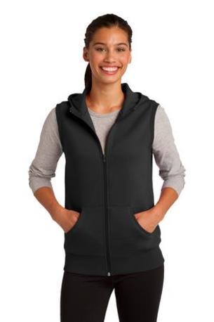 DISCONTINUED  Sport-Tek ®  Ladies Hooded Fleece Vest. LST268