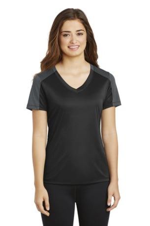 Sport-Tek ®  Ladies PosiCharge ®  Competitor -  Sleeve-Blocked V-Neck Tee. LST354