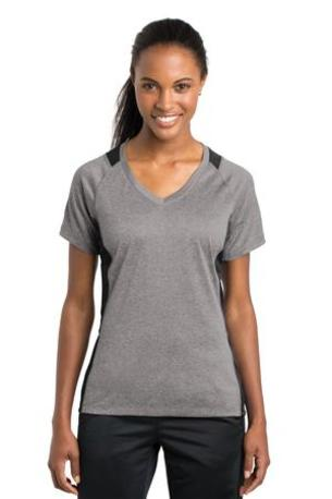Sport-Tek ®  Ladies Heather Colorblock Contender -  V-Neck Tee. LST361