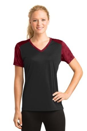 Sport-Tek ®  Ladies CamoHex Colorblock V-Neck Tee. LST371