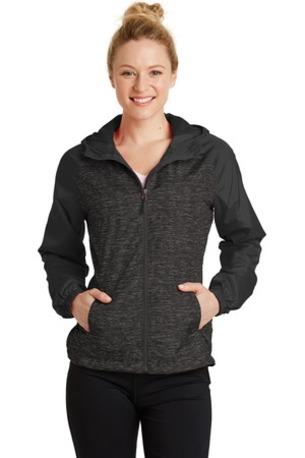 Sport-Tek ®  Ladies Heather Colorblock Raglan Hooded Wind Jacket. LST40