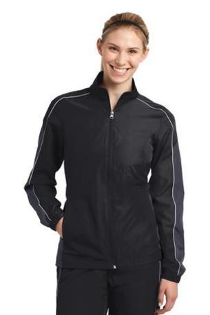 Sport-Tek ®  Ladies Piped Colorblock Wind Jacket. LST61