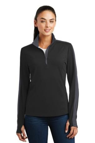 Sport-Tek ®  Ladies Sport-Wick ®  Textured Colorblock 1/4-Zip Pullover. LST861